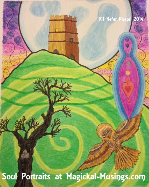 Soul Portrait featuring a Goddess image, Glastonbury Tor, an owl, & a dead tree. Copyright Nefer Khepri, 2012.